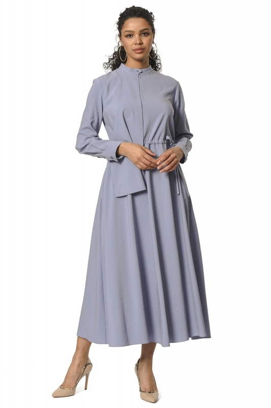 Yaka Şal Detaylı Uzun Elbise (Mavi)