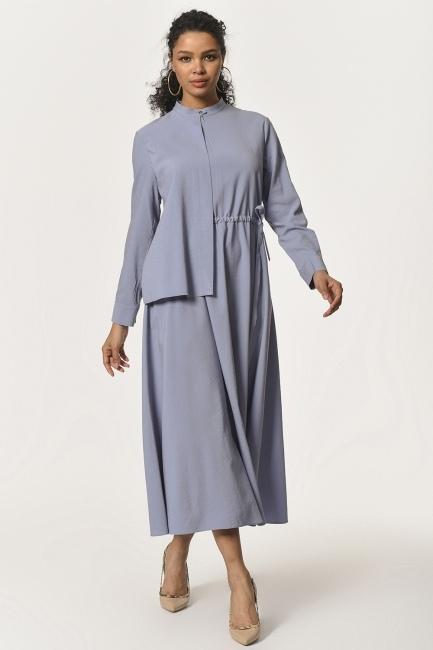 Yaka Şal Detaylı Uzun Elbise (Mavi) - Thumbnail