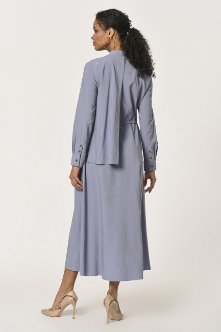 Collar Shawl Detailed Long Dress (Blue) - Thumbnail