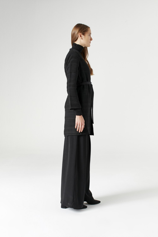 MIZALLE Collar Braided Cardigan (Black) (1)