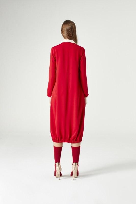 Yakadan Fularlı Elbise (Kırmızı)
