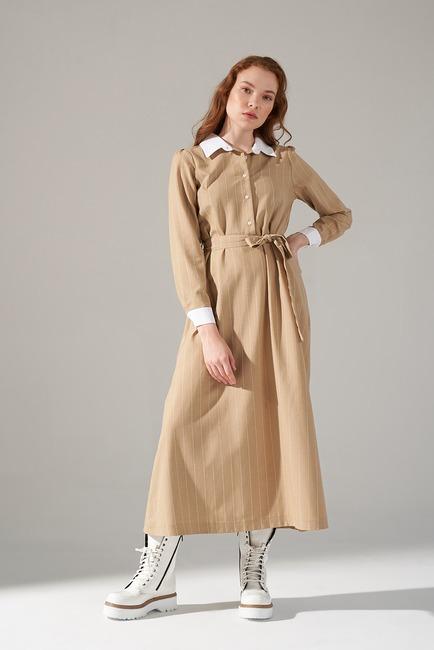 Mizalle - Yakalı Elbise (Bej)