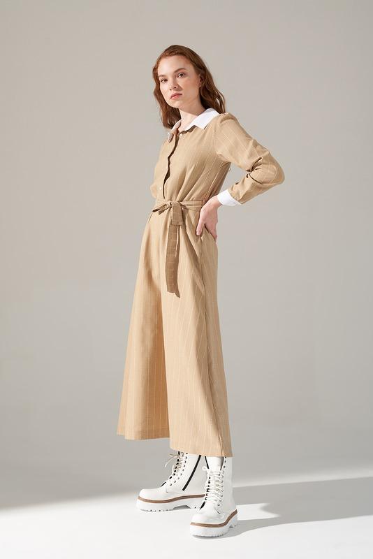 Yakalı Elbise (Bej)