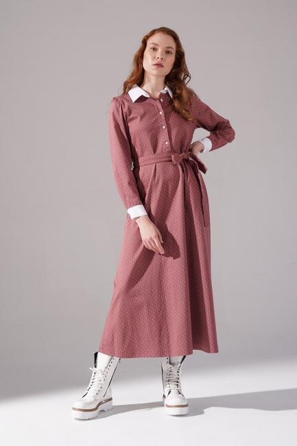 Mizalle - Yakalı Kiremit Elbise
