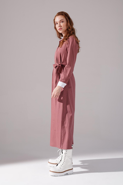 Yakalı Kiremit Elbise