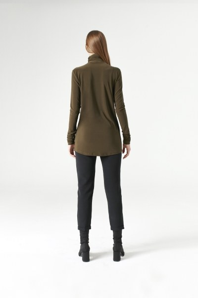 Shirring-Collar Blouse (Khaki) - Thumbnail