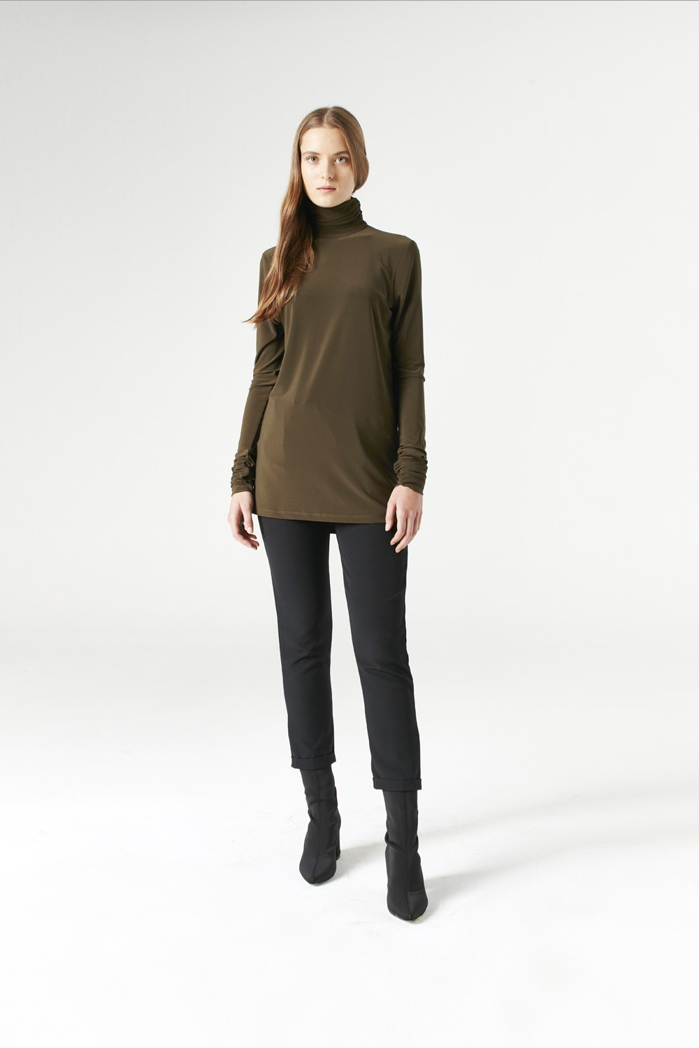 MIZALLE Shirring-Collar Blouse (Khaki) (1)