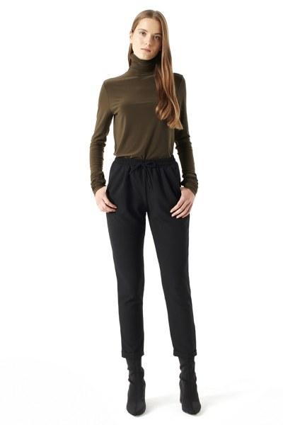 MIZALLE Shirring-Collar Blouse (Khaki)