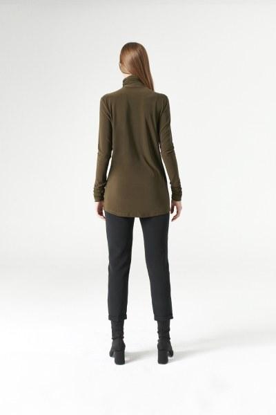 Shirring-Collar Blouse (Khaki) - Thumbnail