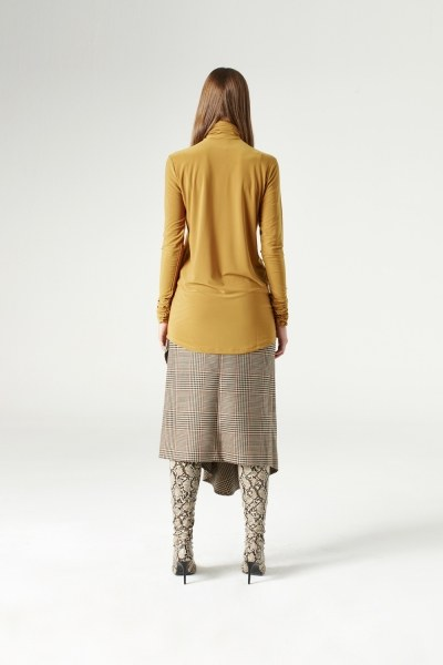 Shirring-Collar Blouse (Camel) - Thumbnail