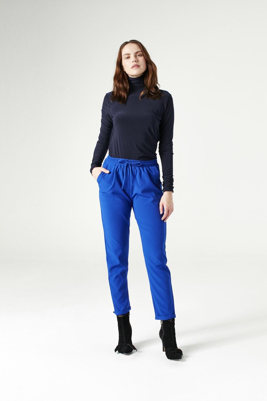 MIZALLE بلوزة بياقة مكشكشة (أزرق داكن) (1)