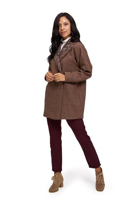 Yakası Desenli Kaban Ceket (Bej) - Thumbnail