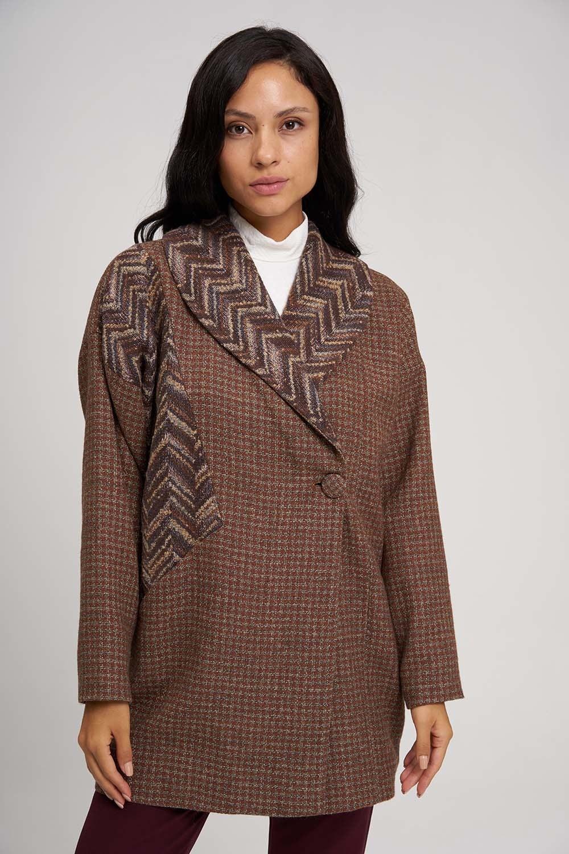 MIZALLE Yakası Desenli Kaban Ceket (Bej) (1)