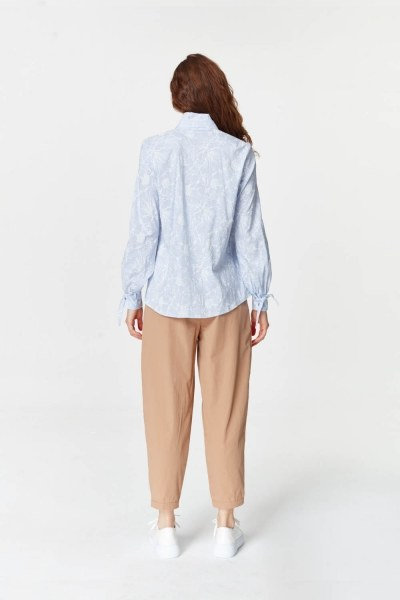 MIZALLE - Shirt With Collar Pleated (Blue) (1)