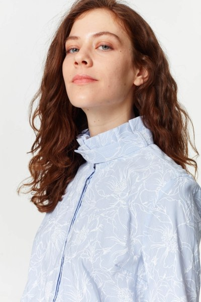 Shirt With Collar Pleated (Blue) - Thumbnail