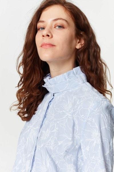 MIZALLE - Yakası Pilili Gömlek (Mavi) (1)