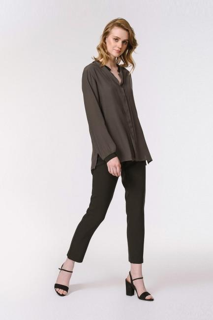 Mizalle - Yakası Ribanalı Bluz (Siyah)