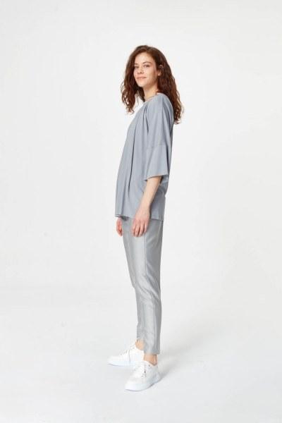 MIZALLE - قميص مع ياقة من نسيج محبوك (رمادي) (1)