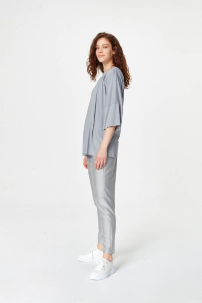MIZALLE - Knit Collar T-Shirt (Grey) (1)