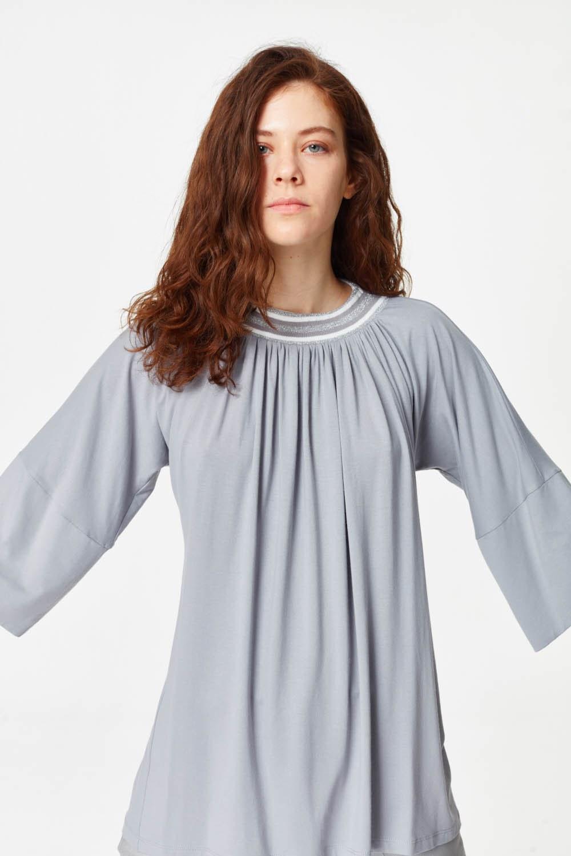 MIZALLE Yakası Ribanalı T-Shirt (Gri) (1)