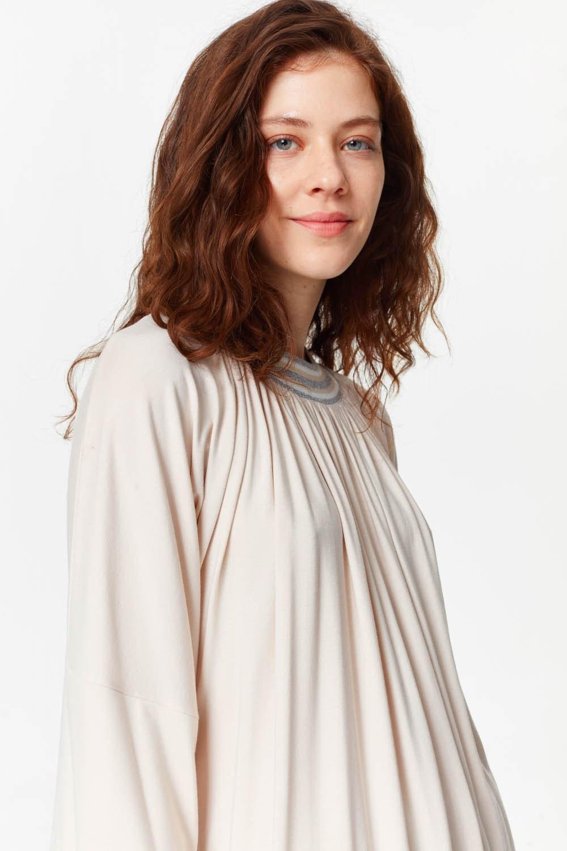MIZALLE Knit Collar T-Shirt (Light Pink) (1)