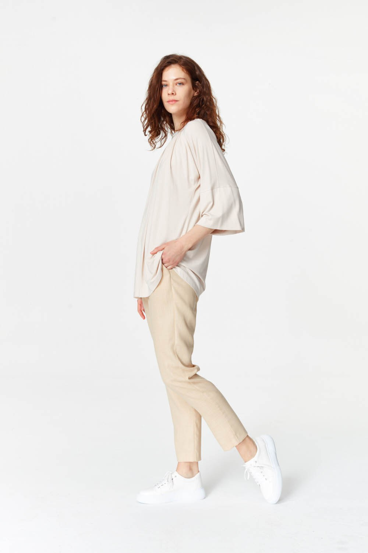 MIZALLE Yakası Ribanalı T-Shirt (Pudra) (1)