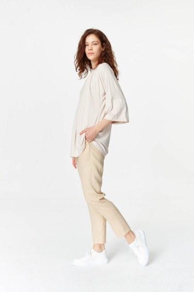 MIZALLE - Yakası Ribanalı T-Shirt (Pudra) (1)