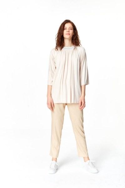 Yakası Ribanalı T-Shirt (Pudra) - Thumbnail
