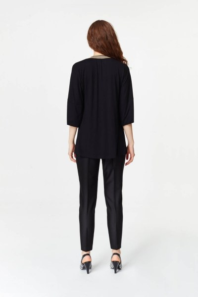 Knit Collar T-Shirt (Black) - Thumbnail