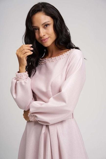 MIZALLE - فستان سهرة ذات الاحجار (وردي) (1)
