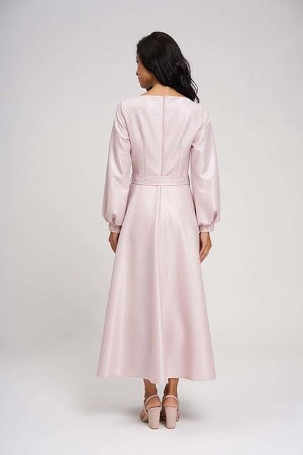 Yakası Taşlı Simli Abiye Elbise (Pembe) - Thumbnail
