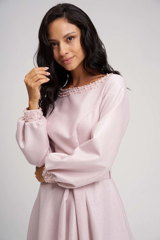 MIZALLE Side Stone Sparkle Evening Dress (Pink) (1)