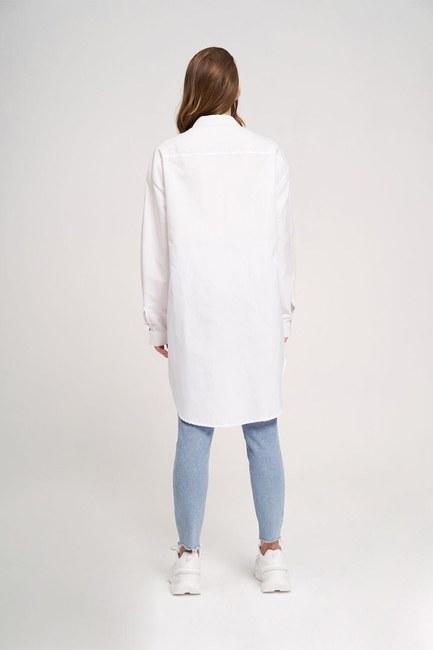 خط العنق قميص سترة مفصلة (أبيض) - Thumbnail