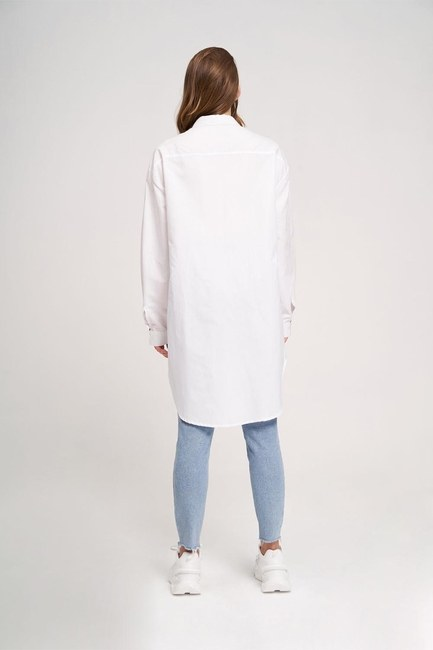 Neckline Detailed Tunic Shirt (White) - Thumbnail