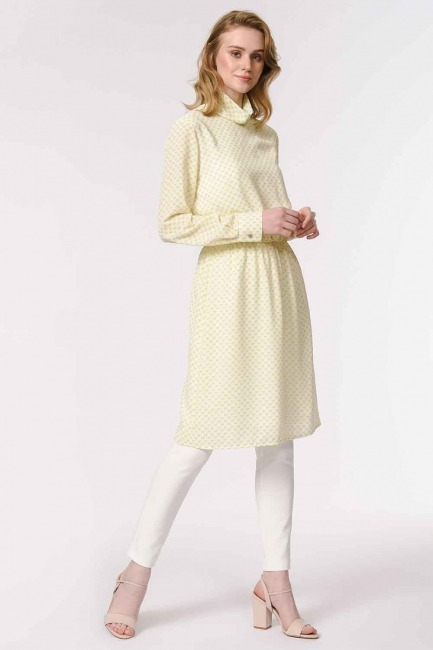 MIZALLE - Long Neck Chiffon Tunic (Pistachio Green) (1)
