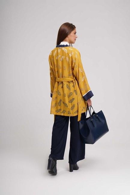 Yakma Desenli Kimono (Safran) - Thumbnail