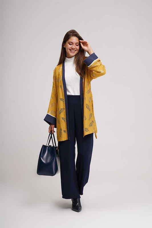 Yakma Desenli Kimono (Safran)
