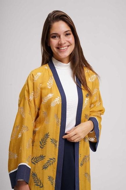 MIZALLE - Yakma Desenli Kimono (Safran) (1)