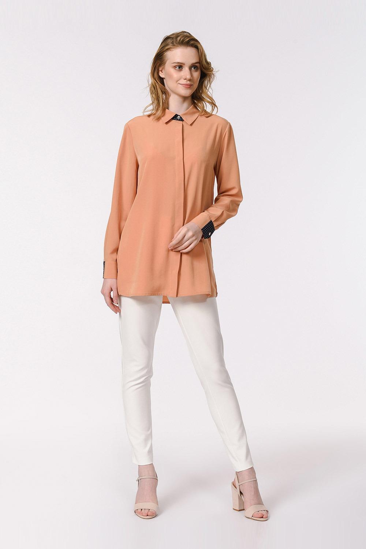 Yan Büzgülü Gömlek Bluz (Safran)