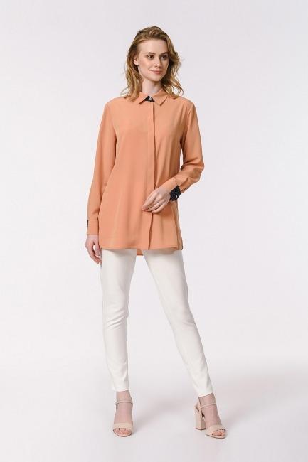 Mizalle - Yan Büzgülü Gömlek Bluz (Safran)