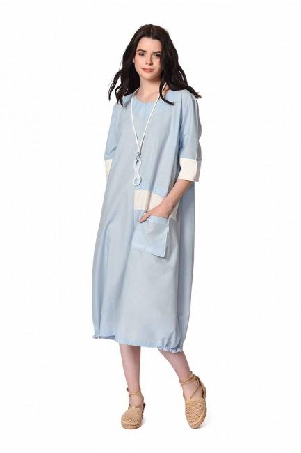 MIZALLE Yan Cep Detaylı Salaş Elbise (Açık Mavi)
