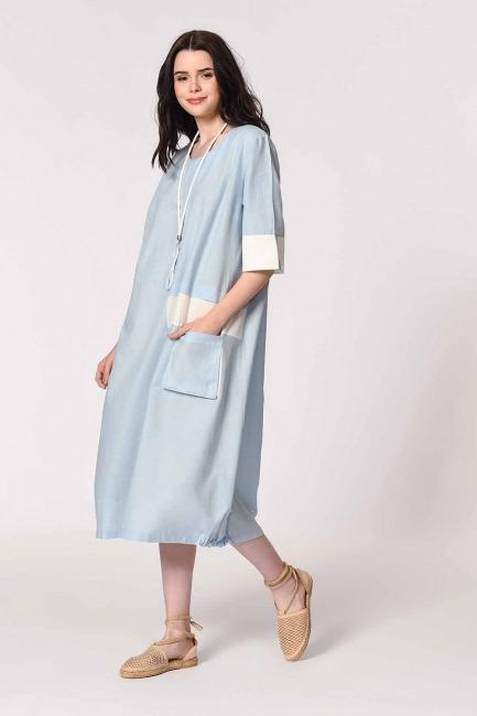 Yan Cep Detaylı Salaş Elbise (Açık Mavi) - Thumbnail