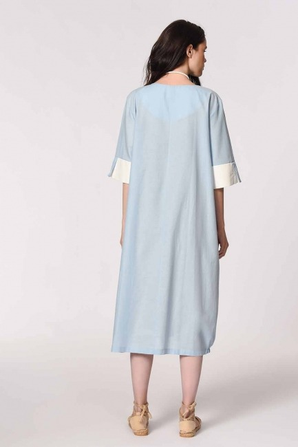MIZALLE - Side Pocket Bohemian Dress (Light Blue) (1)