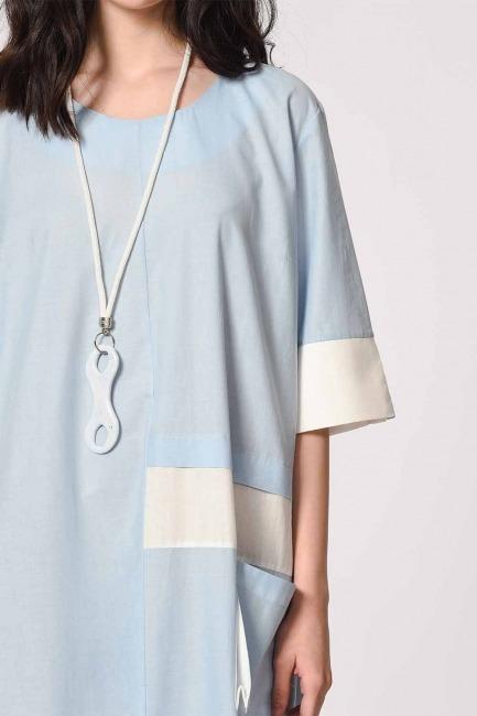 Side Pocket Bohemian Dress (Light Blue) - Thumbnail