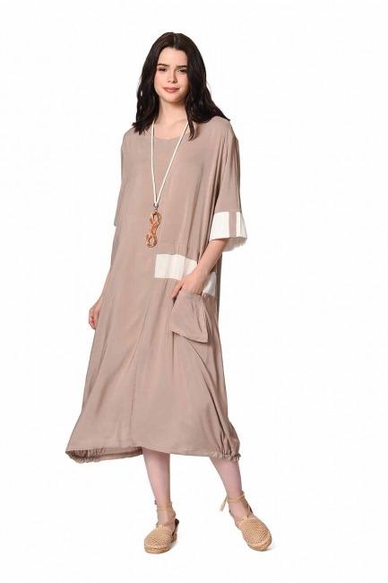 MIZALLE Yan Cep Detaylı Salaş Elbise (Açık Vizon)