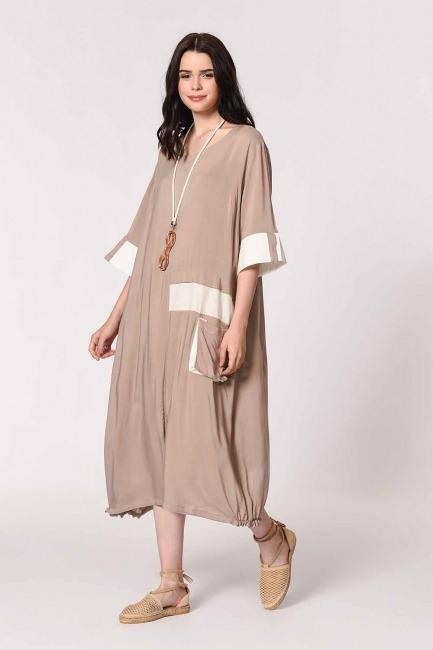 Yan Cep Detaylı Salaş Elbise (Açık Vizon) - Thumbnail