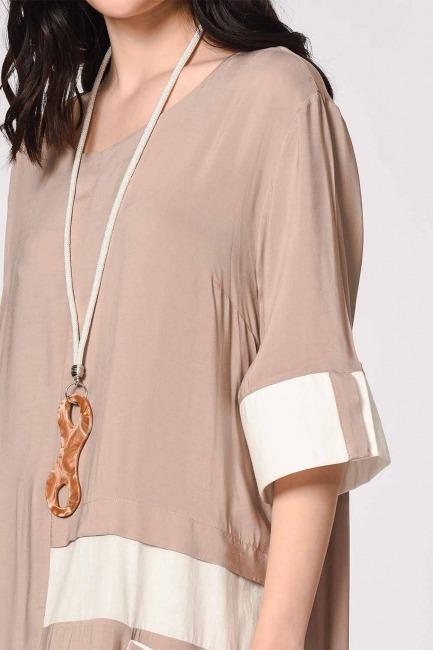 Side Pocket Bohemian Dress (Light Mink) - Thumbnail