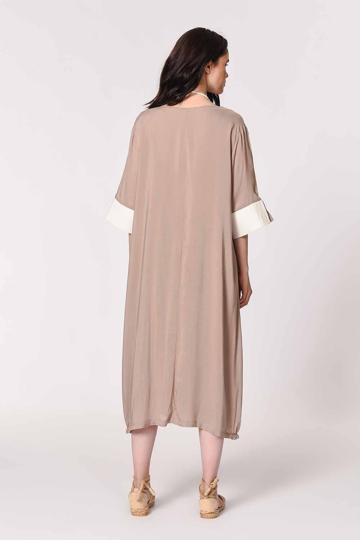 MIZALLE Yan Cep Detaylı Salaş Elbise (Açık Vizon) (1)