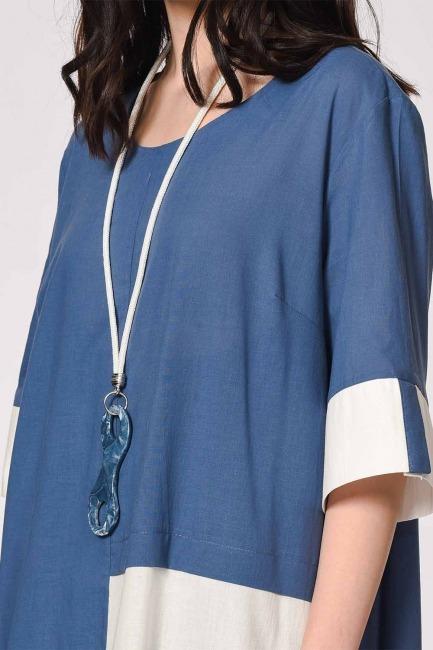 MIZALLE - فستان فضفاض مع جيب الجانبية التفاصيل (النيلي) (1)