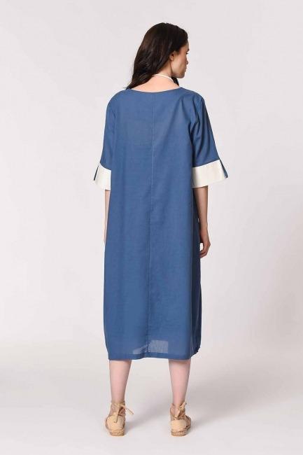 Yan Cep Detaylı Salaş Elbise (İndigo) - Thumbnail